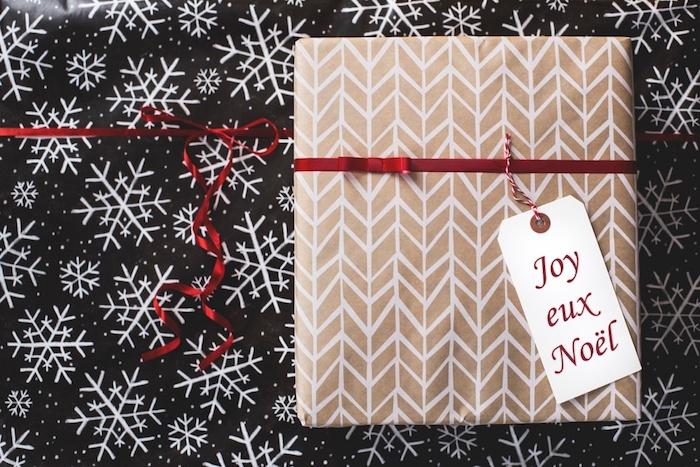 Comment emballer un cadeau, belle photo de cadeau emballé bien à envoyer pour la fête de noel, image de cadeau noel et flacons de neige