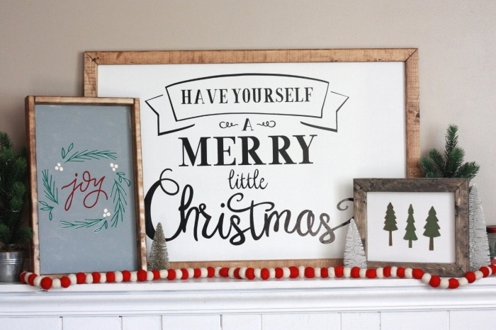 deco de noel fait main, modèles de cadres photos en bois fait maison, idée comment décorer une cheminée de Noël avec objets diy