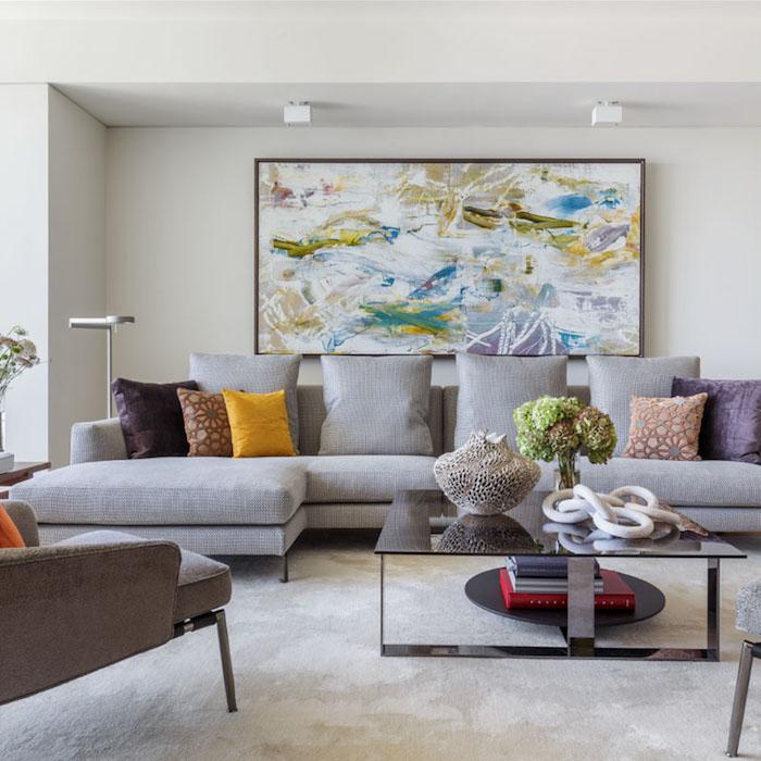 Grande peinture abstraite, chambre gris et rose, déco chambre à coucher moderne