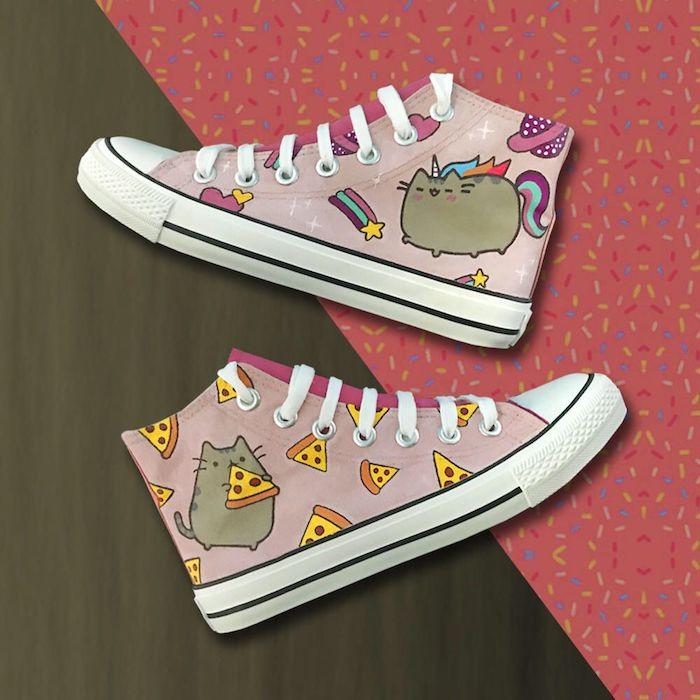 Chouette idée pour customiser ses chaussures avec le chaton pusheens, Converse rose personnalisation simple à faire