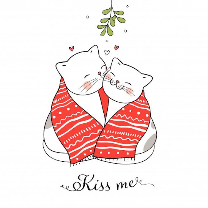 Deux chats adorables avec une écharpe rouge et blanc, dessin pere noel, coloriage noel pour enfants et grands, dessin de noel facile en couleur