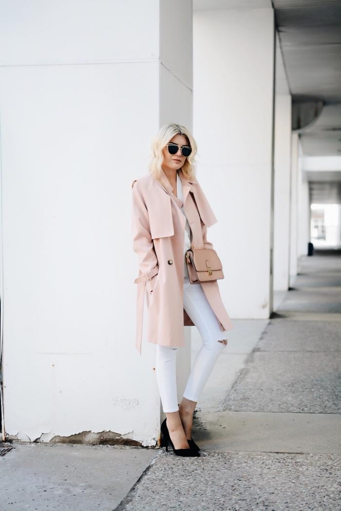 idée vetement femme tendance hiver, exemple comment assortir les couleurs de ses vêtements pour un look féminin