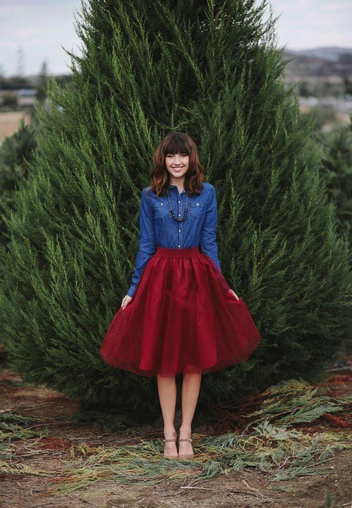 Deux pièces robe de noel fille, robe de noël avec chemise en jean et jupe en tulle trapèze, soirée tenue hiver