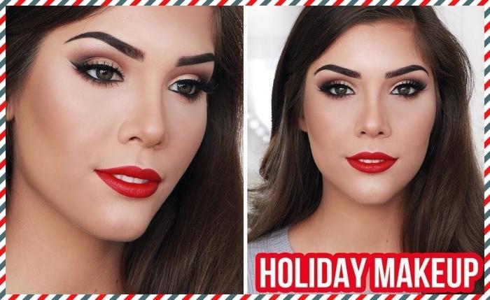 maquillage classique pour une soirée de Noël avec fards à paupières dorés et yeux smoky aux lèvres rouges