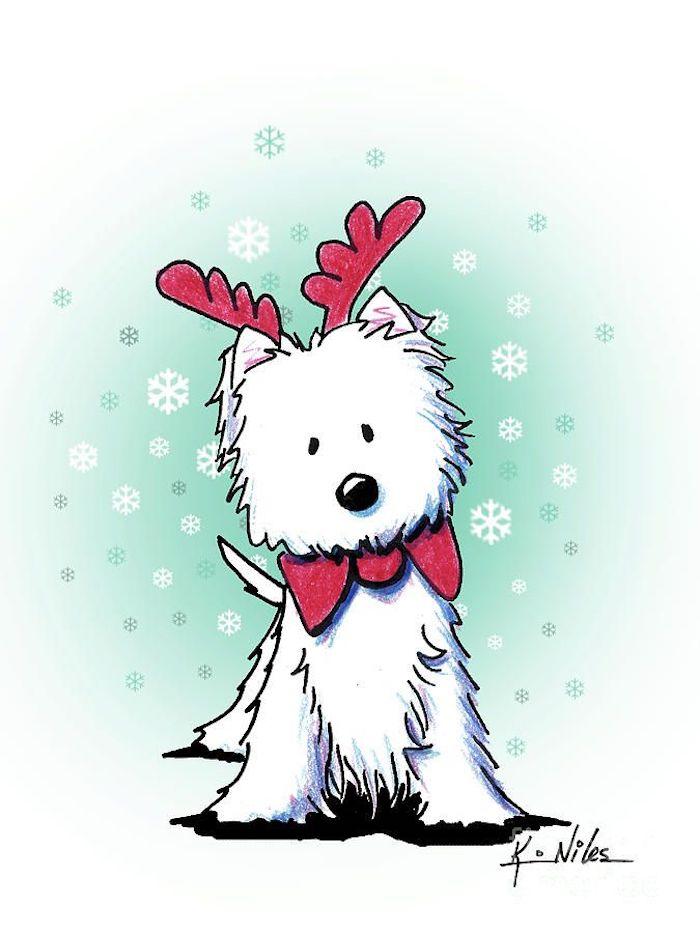 Chien de noel dessin, coloriage noel, blanc chien avec cornes de renne et papillon rose, idee noel dessin