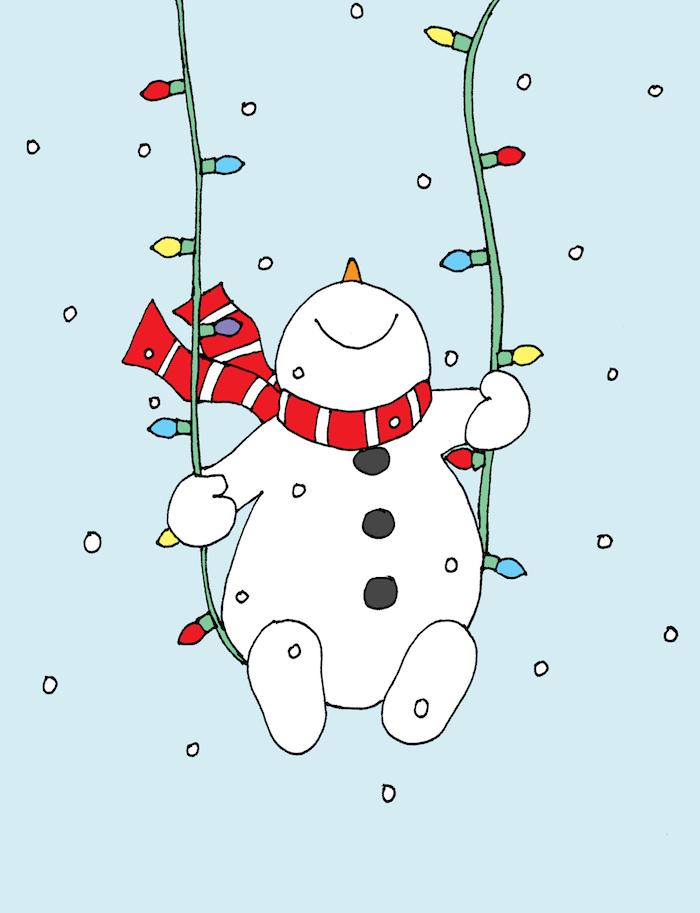 Bonhomme de neige sur balançoire de guirlande lumineuse, dessin de noel facile a reproduire, les symboles de la fête en dessins