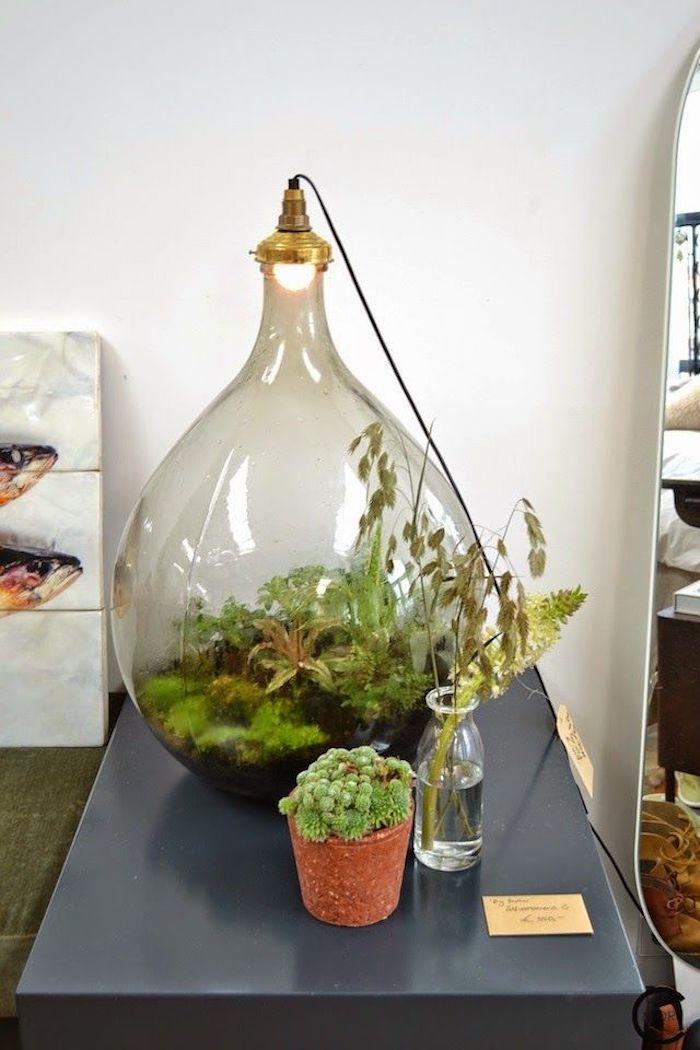 Terrarium de bonbonne dame jeanne, comment bien organiser son salon hippie chic, idée fabriquer un terrarium avec lampe pour les plantes