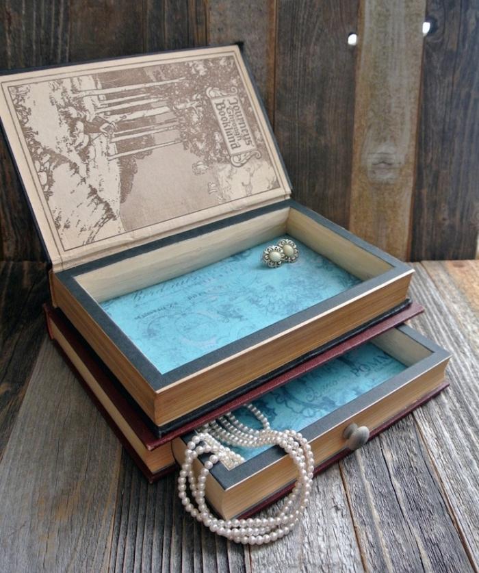 idée boite de rangement carton décorative, que faire avec ses vieux livres, modèle boîte à bijoux à faire soi-même