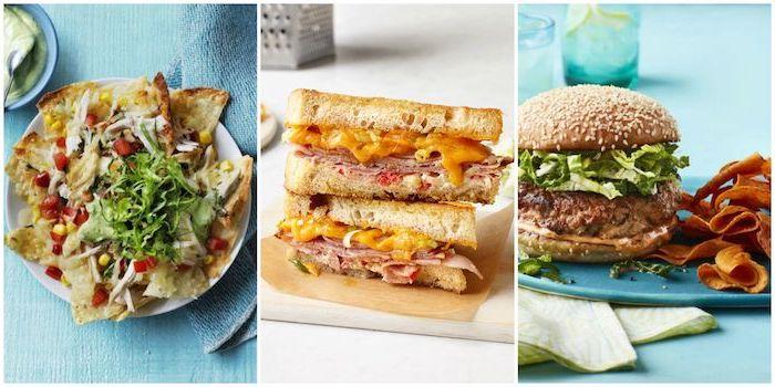 trois idées de repas simples pour le soir, hamburger, sandwich et des nachos maison a faire soi meme