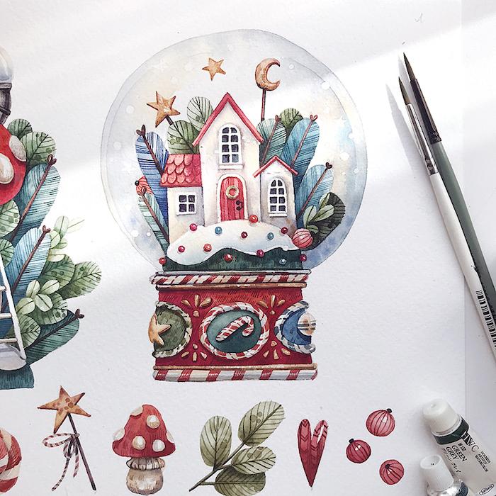 Boule de noel presse papier dessin noel, inspiration maison de pere noel dessin, art simple et rapide