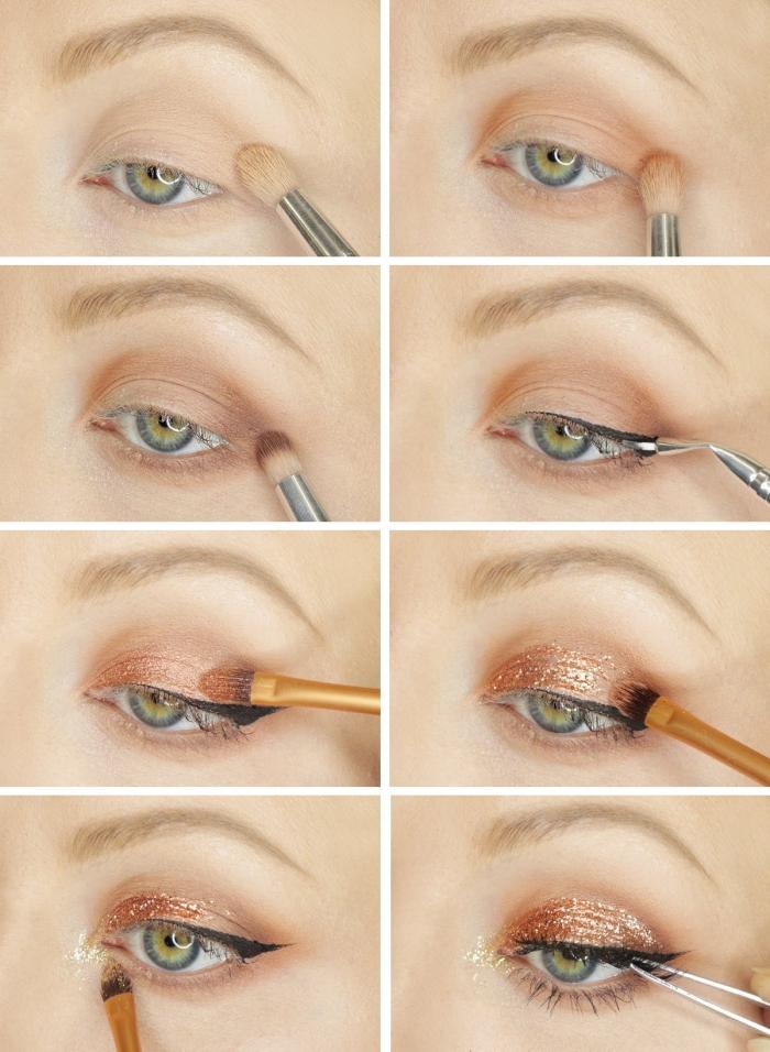 étapes à suivre pour se maquiller les yeux de Noël, idée maquillage de noel festif aux ombres à paupières glitter