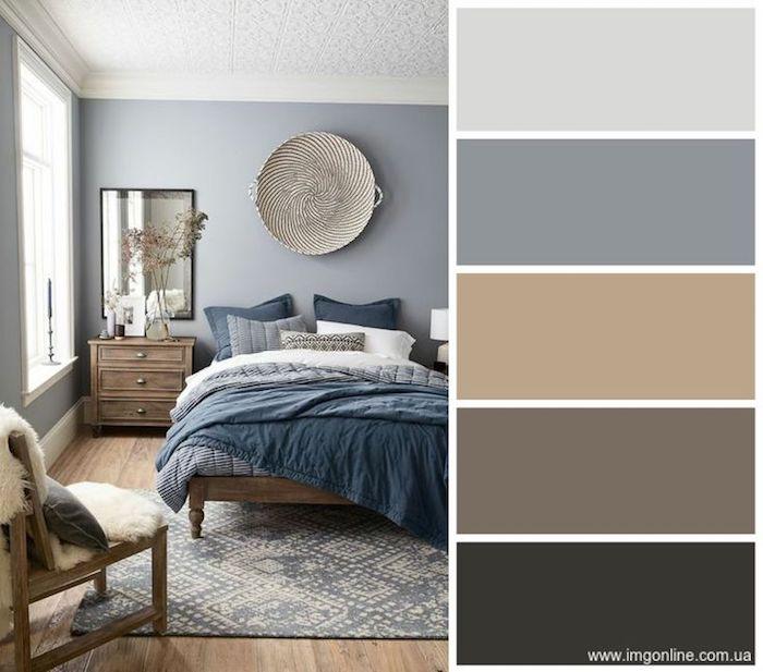 Idée nuances et couleurs avec lesquelles associer le gris, chambre à coucher couleur gris perle, quelle couleur associer au gris perle