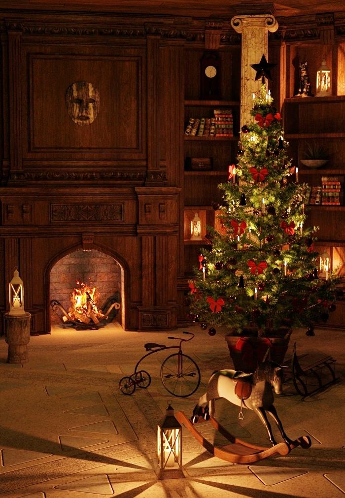 image de sapin de noel décoré avec rubans rouges au centre d'un salon avec cheminée et grande bibliothèque en bois foncé