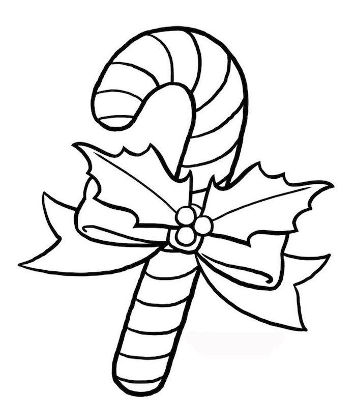 Canne de sucre à colorer, simple dessin de noel facile, le plus beaux dessin a faire soi meme