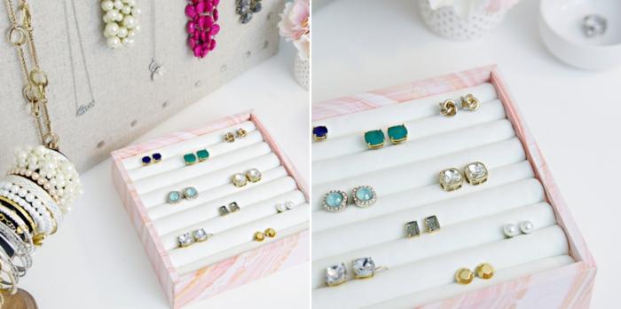 modèle de boite a bijoux fille DIY, exemple d'organisateur pour boucles d'oreilles facile à réaliser soi-même avec boîte carton