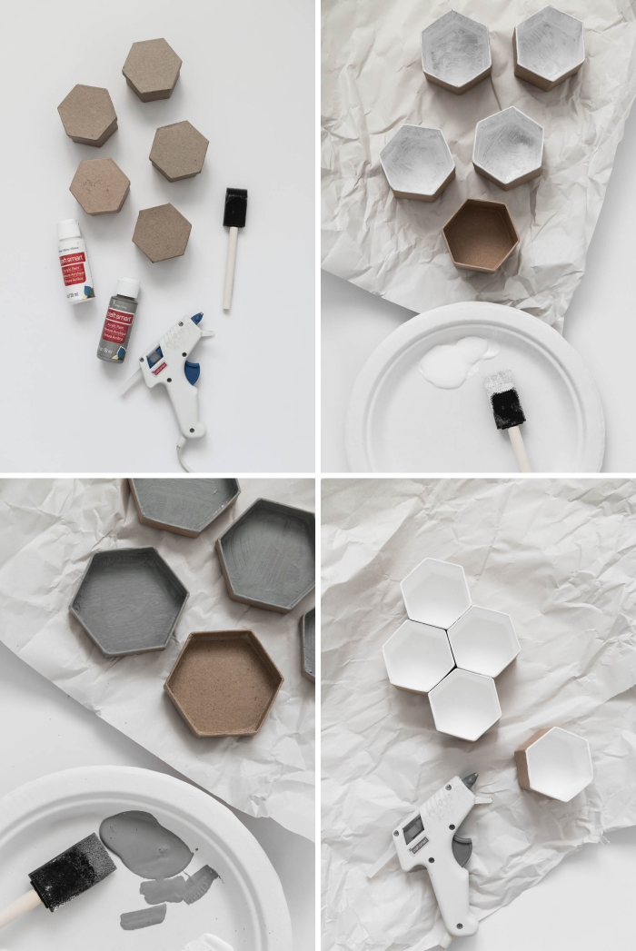 pas à pas pour faire un organisateur bijoux en carton, diy boite de rangement carton décorative aux sections en formes hexagonales