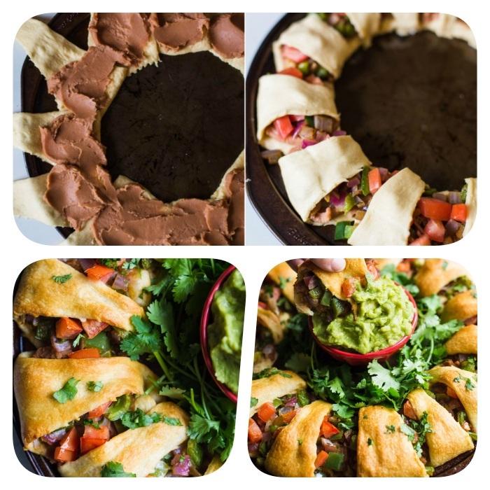 comment faire une couronne de noel façon tacos maison pour votre entree pour noel, tacos légumes et purée d haricots noirs, feuilleté apéro simple