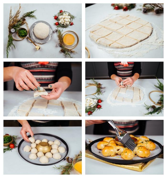 tuto pour faire du pain à partager entre amis, apero noel simple à faire avec de mini boules de mozzarella