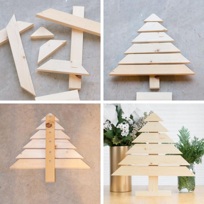 idée fabrication deco de noel facile avec morceaux de bois, diy mini sapin de noel en bois construit avec morceaux bois clair