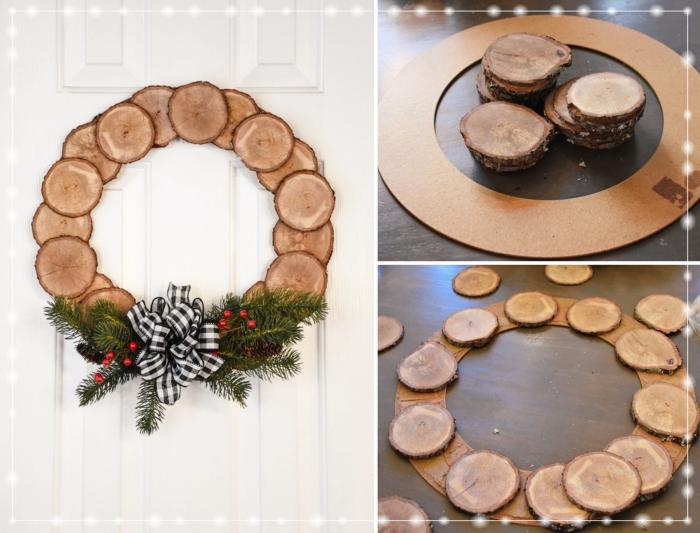 décorations de noël à faire soi même, modèle de couronne de Noël DIY fabriqué avec anneau et rondelles de bois