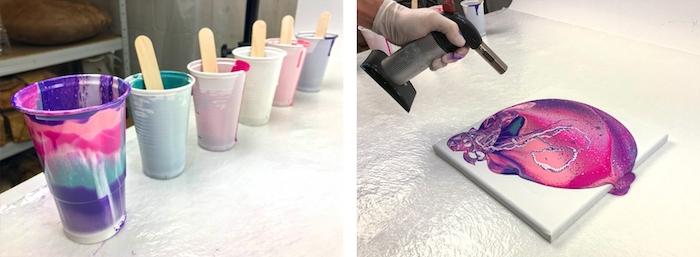 Acrylique pouring pour débutant, idée comment créer des jolies peintures fluides, gobelets pleines de peinture à renverser