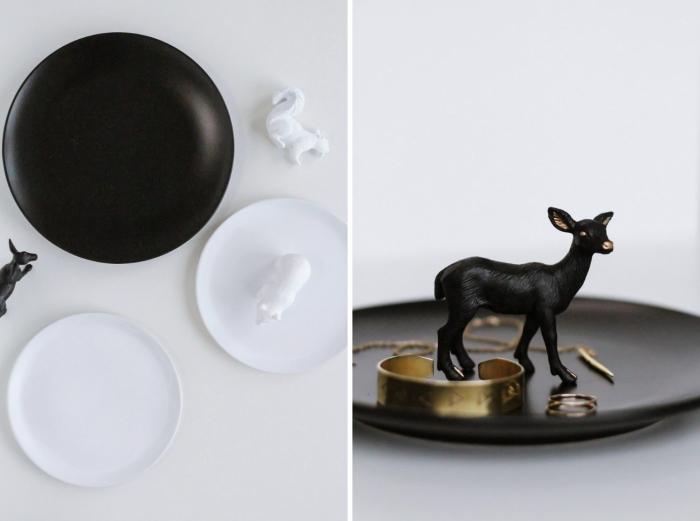 idée fabrication de coupelle pour bijoux stylée, diy porte assiette pour bijoux peinte en noir mate avec figurine biche
