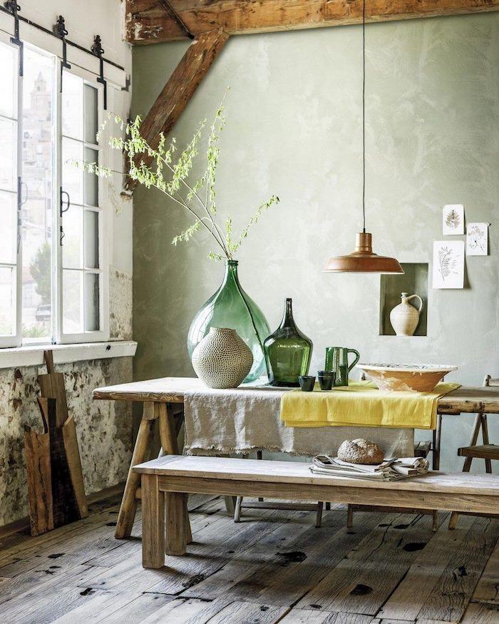 Cuisine rustique diy déco chambre, deco dame jeanne composer soi-même, table longue salle à manger