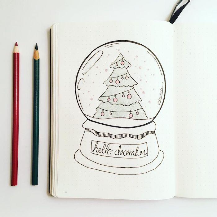 Boule de Noël en presse papier original avec sapin de noel dedans, dessiner un pere noel, apprendre a dessiner en lignes simples