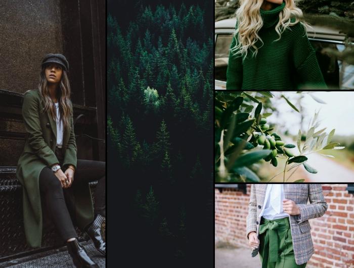 les nuances du vert dans la mode automne hiver 2020, vêtements pour femme de nuance vert foncé pour l'hiver 2019
