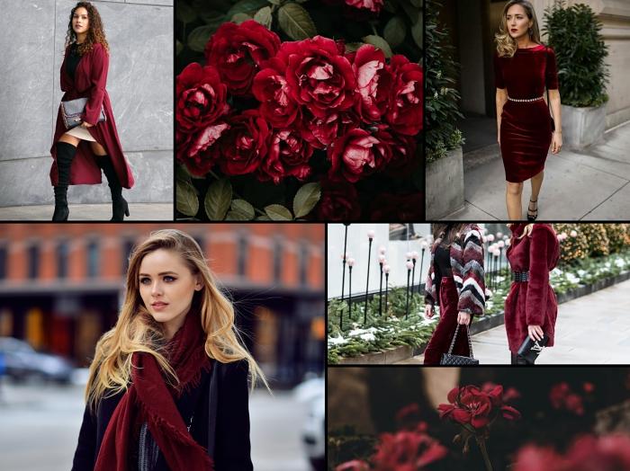 idée comment bien s'habiller selon les trends mode hiver 2019, couleur de vêtements tendances rouge foncé pour femme