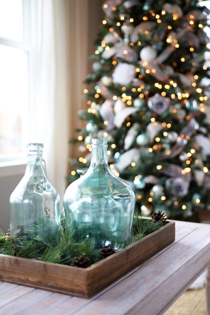 Noël déco dame jeanne verre, grand vase deco a poser au sol, arbre de noël décoré de bougies
