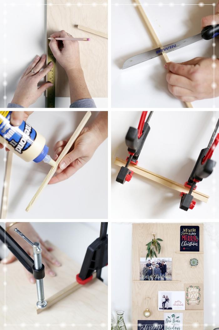 idée bricolage noel à réaliser avec morceau de bois, étapes à suivre pour faire un tableau décoratif pour cartes de Noël