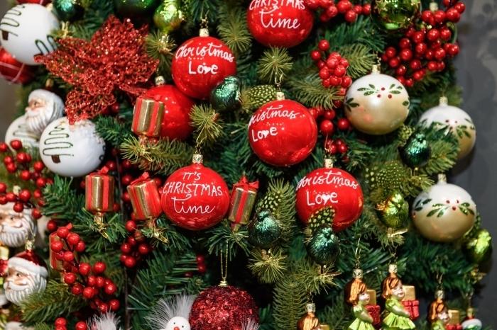 exemple comment décorer un arbre de Noël vert avec figurines à design tête père Noël et boules à message joyeux Noel