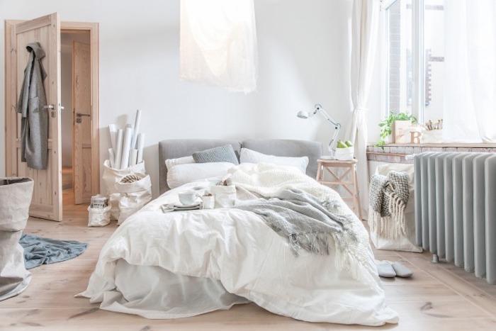 Bohème déco chambre adulte deco, quelle couleur avec le gris, blanc gris et bois pour un intérieur scandinave cool