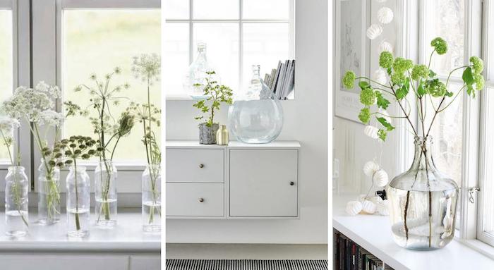 Trois options de décoration avec vase transparente en verre dans une maison scandinave, dame jeanne verre, comment décorer la salle de séjour