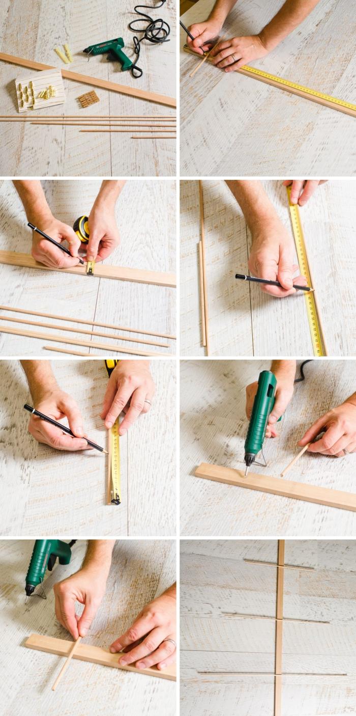 idée décoration de noel à fabriquer en bois, pas à pas facile pour construire un arbre de Noël avec bâtonnets de bois
