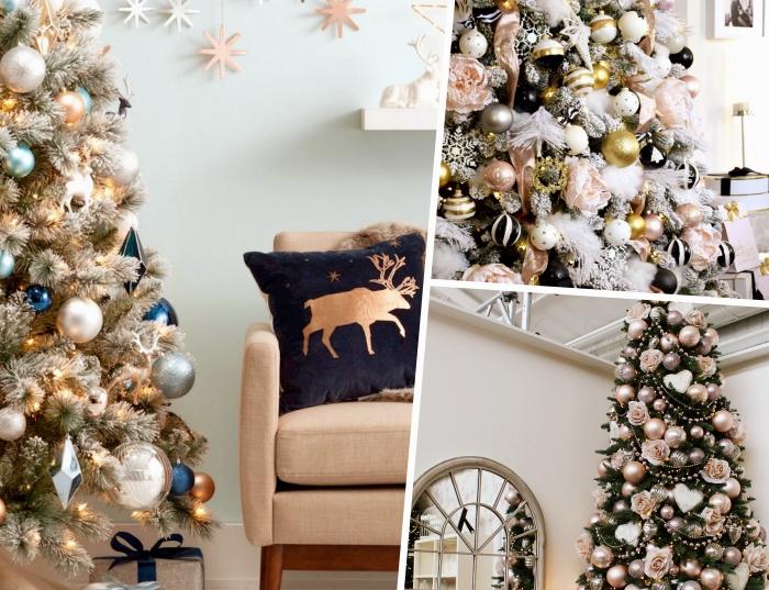 idée decoration sapin de noel avec ornements métalliques en rose gold et argent, gros sapin artificiel avec branches enneigées