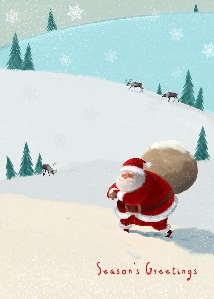 Père Noël avec un voeux de noel, image joyeux noël, bonne fete a toi, dessin de pere noel coloré