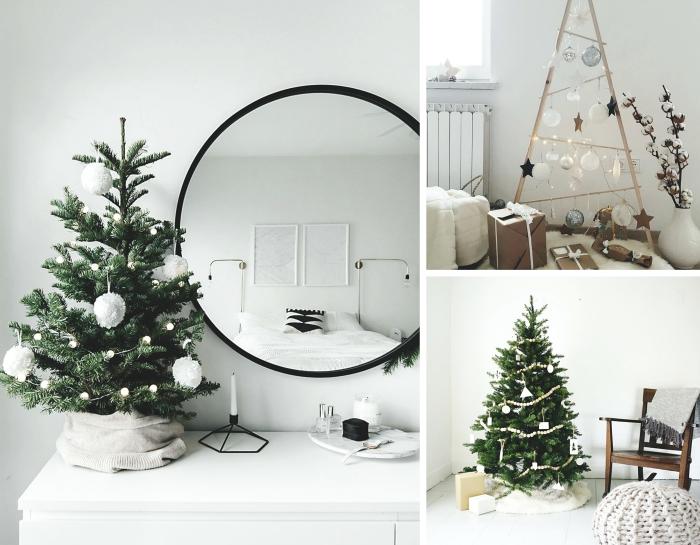 DIY sapin de noel en bois fabriqué avec bâtons en bois en forme triangulaires, décoration scandinave pour Noël avec pompons blancs