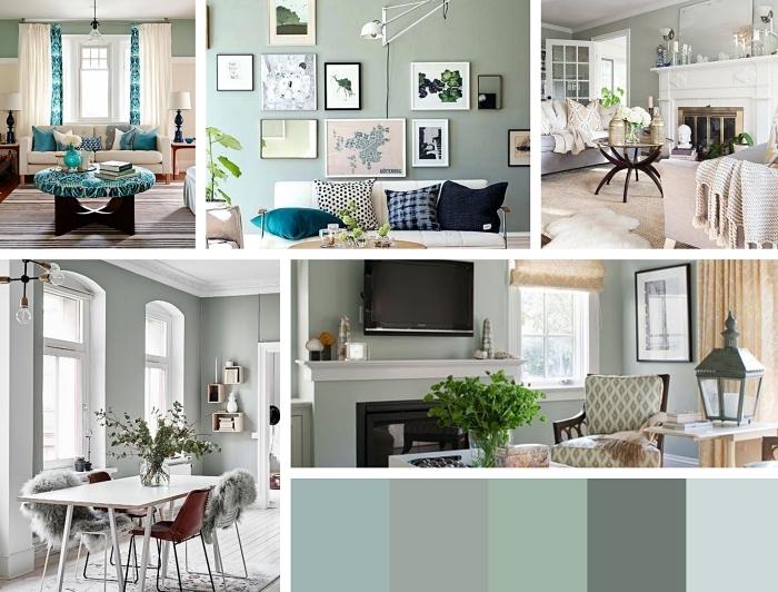 Gris vert décoration chambre à coucher, deco chambre moderne quelques idées différentes