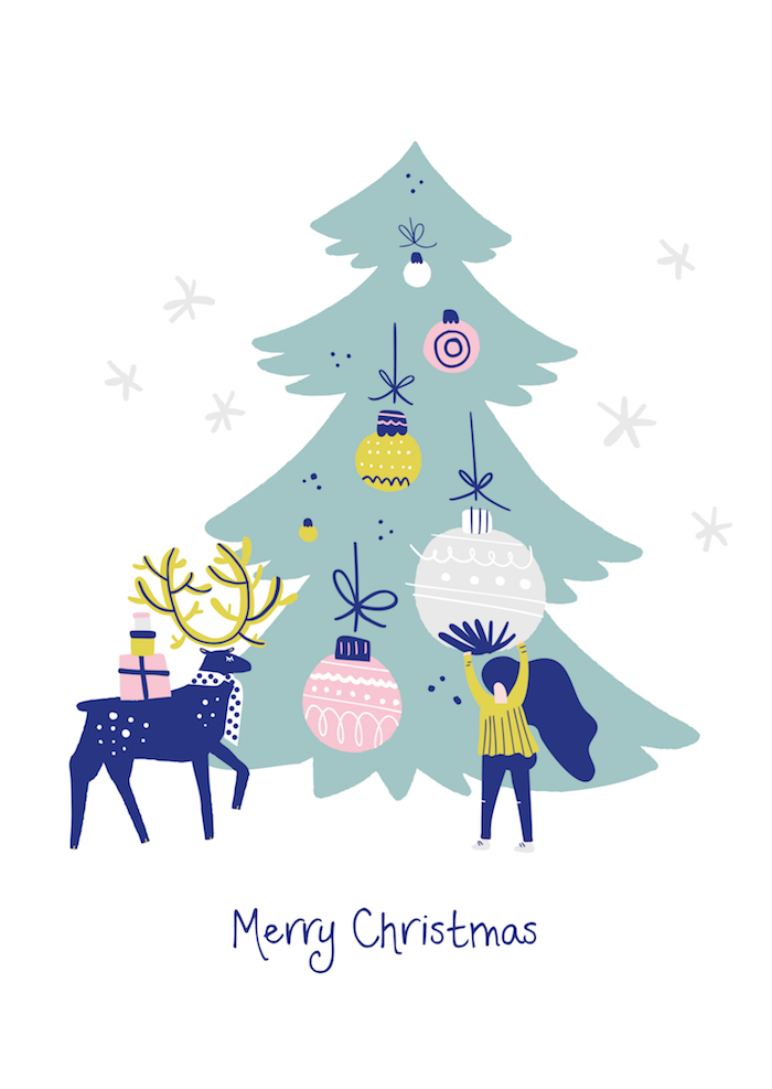 Image joyeux noel sapin et cerf, mettre les ornements sur l'arbre de noel dessin, image bonne fête de noel