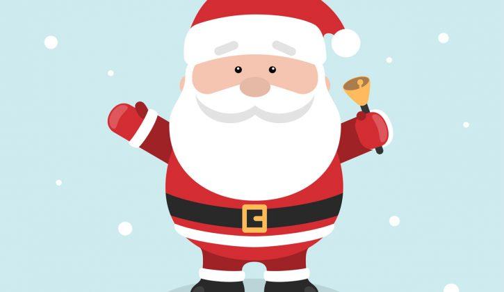 Père Noël dessin adorable, belle image de noel, voeux de noel sur carte image festive