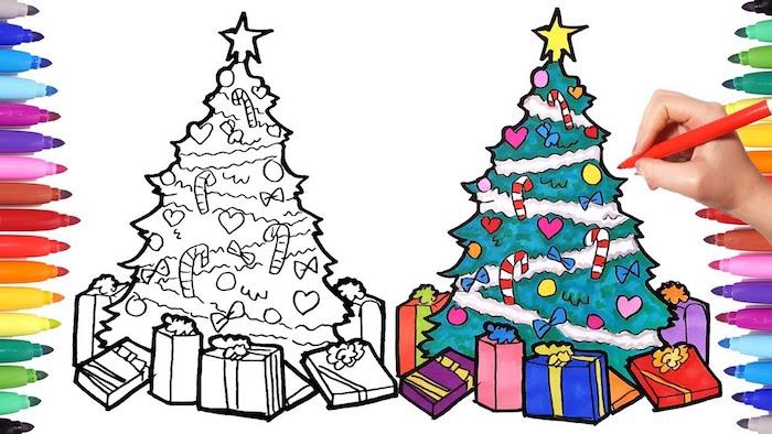 Arbre de noel joliment décoré et entouré de cadeaux, coloriage noel maternelle, commencer à dessiner mieux