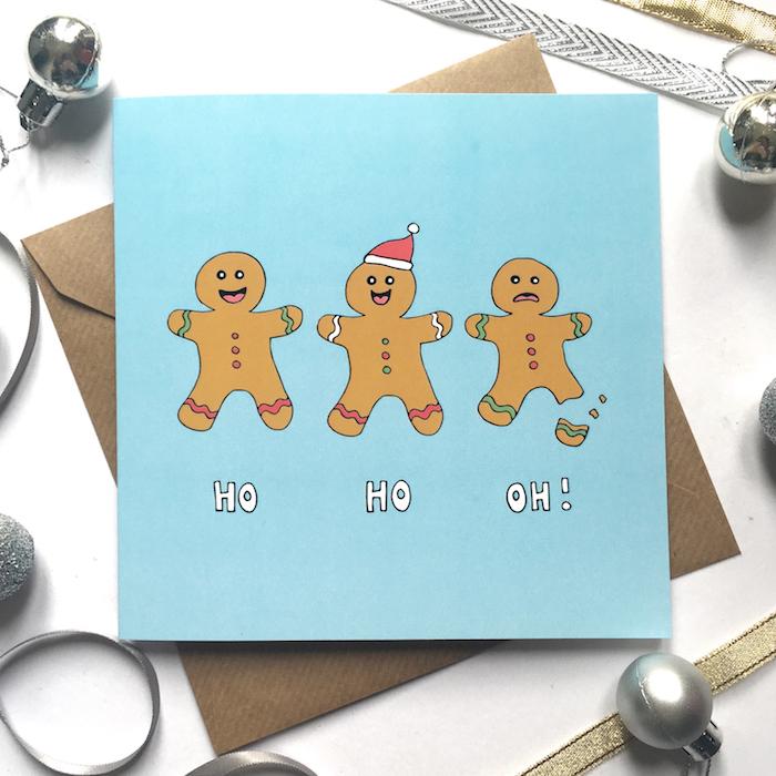 Carte de voeux avec dessin de noel facile a faire, bonhommes de gingembre dessin, apprendre a dessiner facilement