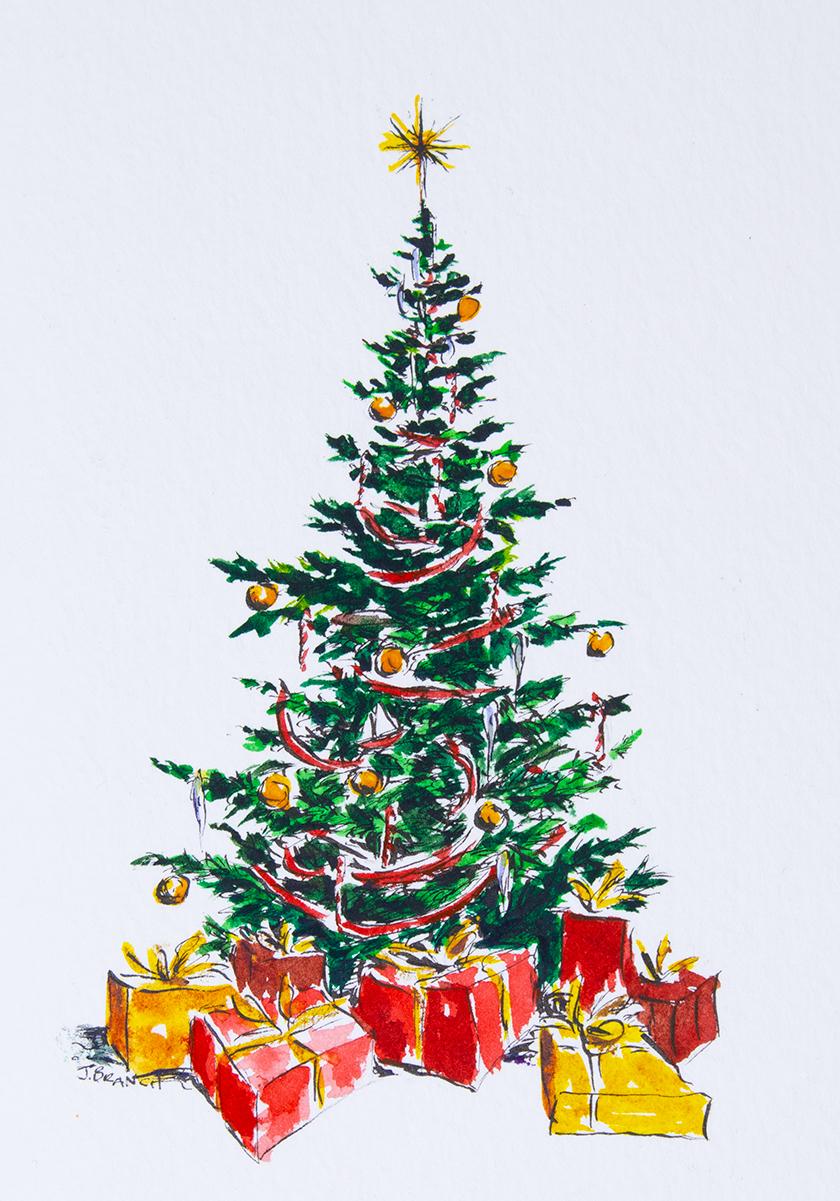 Sapin de Noël dessin coloré, idée peinture aquarelle carte de voeux noel, apprendre a dessiner, idée dessin noel cool et facile à apprendre