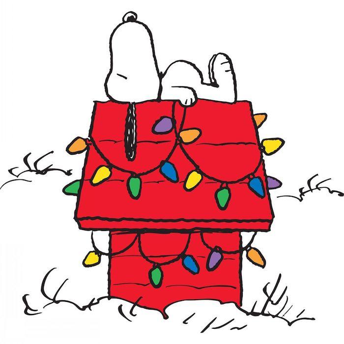 Chien Snoopy endormi, idée coloriage noel disney, retracer des dessins pour apprendre a dessiner