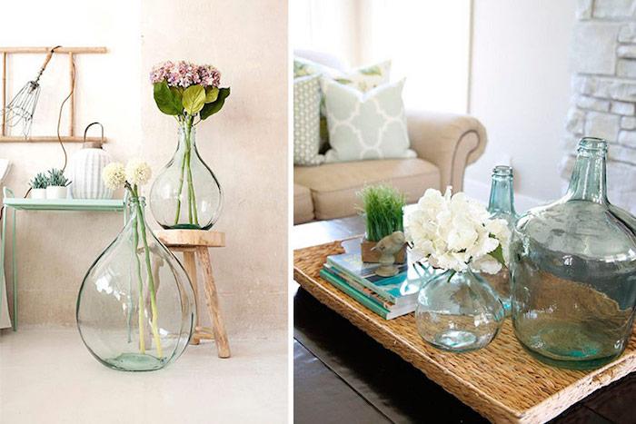 Verre dame jeanne déco, vase en verre géante décorative intérieur, idée comment décorer le salon