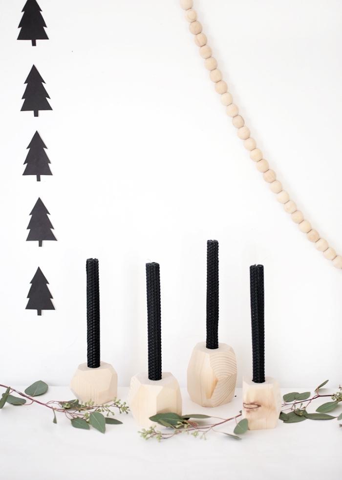 comment réaliser une décoration de Noël de style minimaliste avec des objets DIY, activités manuelles noel faciles