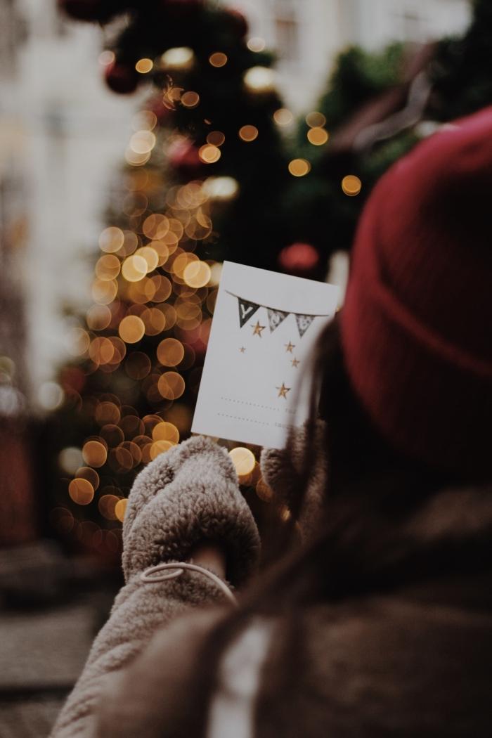 joyeux noel image pour fond d'écran smartphone, fille habillée en manteau faux fur et bonnet rouge avec carte noel entre les mains devant un sapin