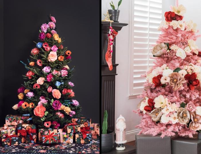 sapin tendance noel 2019 avec décoration en fleurs papier, modèle de sapin artificiel aux branches roses avec fleurs blanches et rouges